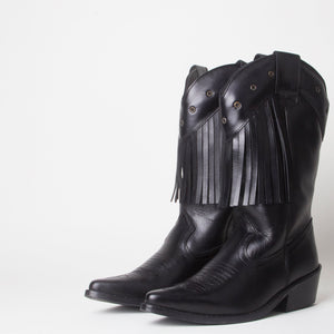 Kelsey Black Western Cowboy Knee High Boots With Tassels