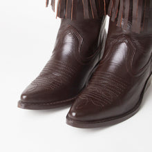 Load image into Gallery viewer, Kelsey Brown Western Cowboy Knee High Boots With Tassels
