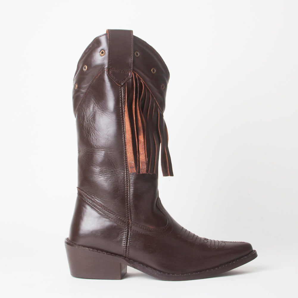Kelsey Brown Western Cowboy Knee High Boots With Tassels