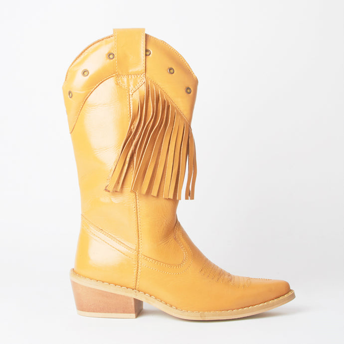 Kelsey Tan Western Cowboy Knee High Boots With Tassels