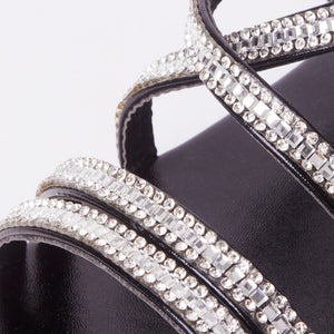 Kennedy Black Crystal Strap Flat Sandals
