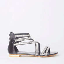 Load image into Gallery viewer, Kennedy Black Crystal Strap Flat Sandals
