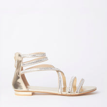 Load image into Gallery viewer, Kennedy Gold Crystal Strap Flat Sandals