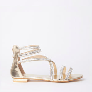 Kennedy Gold Crystal Strap Flat Sandals