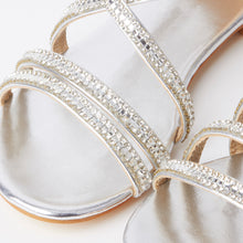 Load image into Gallery viewer, Kennedy Silver Crystal Strap Flat Sandals