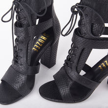 Load image into Gallery viewer, Khloe Black Croc Lace Up Block Heels