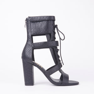 Khloe Black Croc Lace Up Block Heels