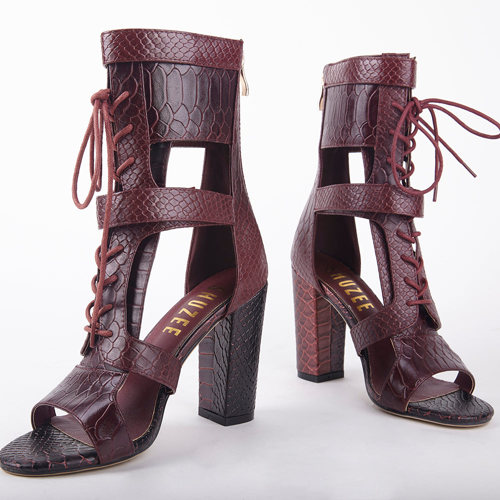 b17aec41b63 Khloe Burgundy Croc Lace Up Block Heels Heel Measures Approximately 4  inches Faux Leather Croc Upper Velcro Strap Fastening With Lace Up