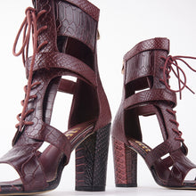 Load image into Gallery viewer, Khloe Burgundy Croc Lace Up Block Heels