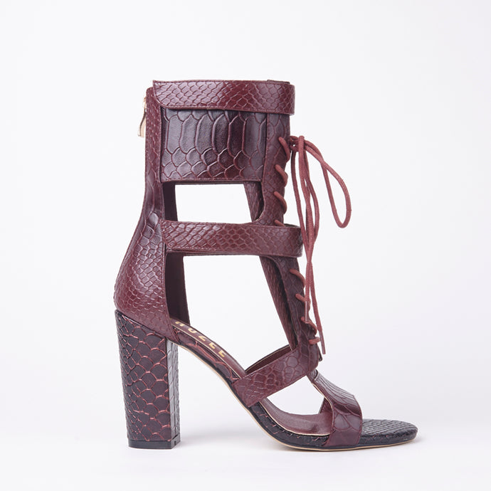 Khloe Burgundy Croc Lace Up Block Heels
