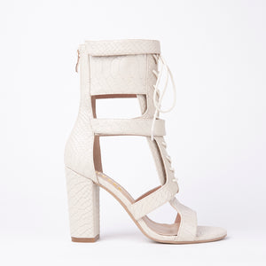 Khloe Nude Croc Lace Up Block Heels