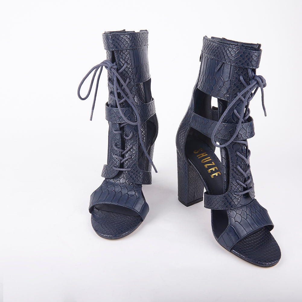 a9133afec8f Khloe Navy Croc Lace Up Block Heels Heel Measures Approximately 4 inches  Faux Leather Croc Upper Velcro Strap Fastening With Lace Up