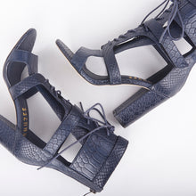Load image into Gallery viewer, Khloe Navy Croc Lace Up Block Heels