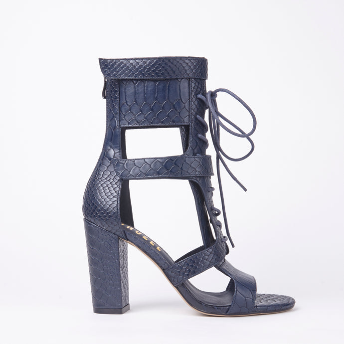 Khloe Navy Croc Lace Up Block Heels