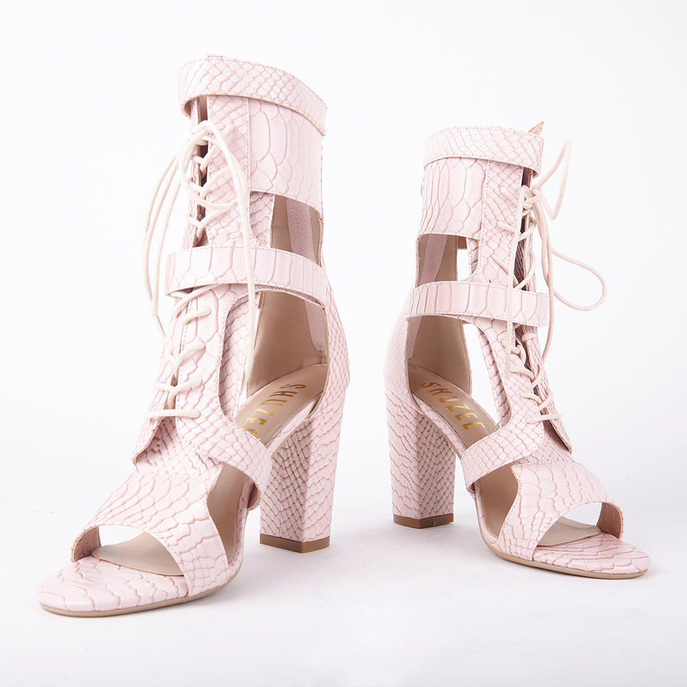 d025400303f Khloe Pink Croc Lace Up Block Heels Heel Measures Approximately 4 inches  Faux Leather Croc Upper Velcro Strap Fastening With Lace Up