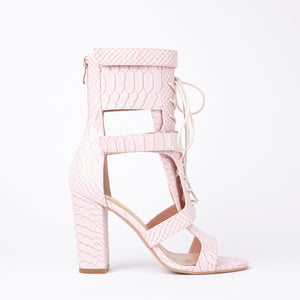 Khloe Pink Croc Lace Up Block Heels
