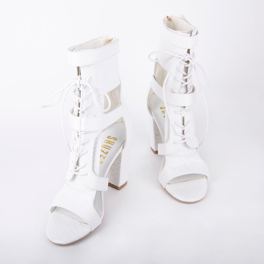 370857f1bda Khloe White Croc Lace Up Block Heels Heel Measures Approximately 4 inches  Faux Leather Croc Upper Velcro Strap Fastening With Lace Up