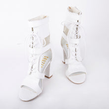 Load image into Gallery viewer, Khloe White Croc Lace Up Block Heels