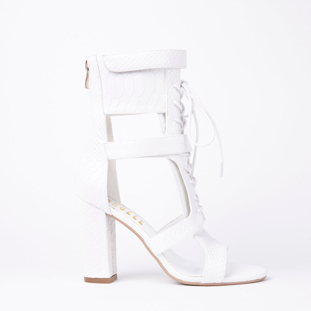 lace up white block heels