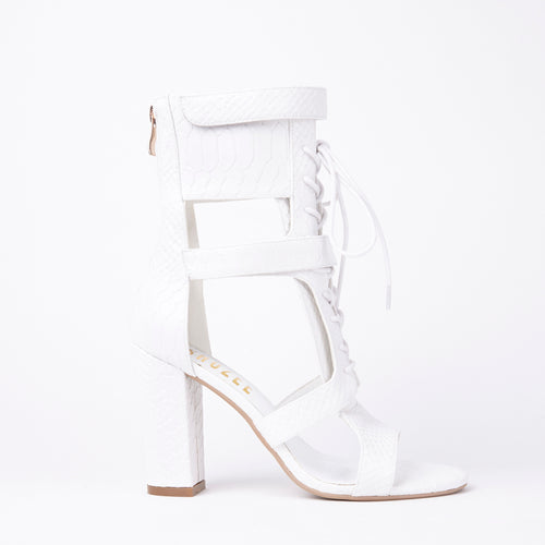 Khloe White Croc Lace Up Block Heels