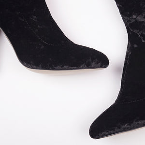 Kim Black Knee High Velvet Block Heel Boots