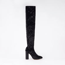 Load image into Gallery viewer, Kim Black Knee High Velvet Block Heel Boots