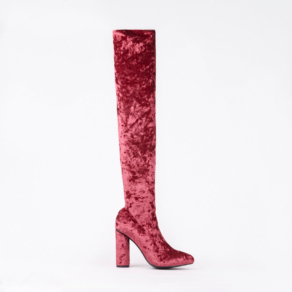 Kim Burgundy Knee High Velvet Block Heel Boots