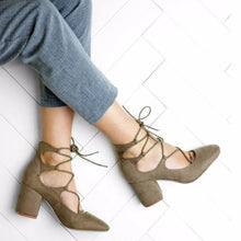 Load image into Gallery viewer, Lace Detail Block Heel Taupe Faux Suede Court Shoe