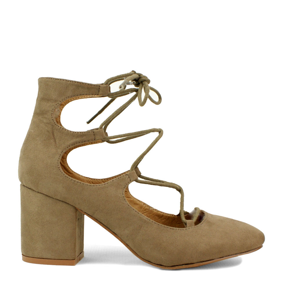 Lace Detail Block Heel Taupe Faux Suede Court Shoe
