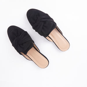 Lera Black Faux Suede Slipper Bow Mules