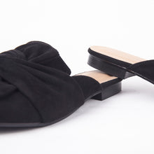 Load image into Gallery viewer, Lera Black Faux Suede Slipper Bow Mules