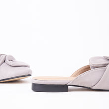 Load image into Gallery viewer, Lera Grey Faux Suede Slipper Bow Mules