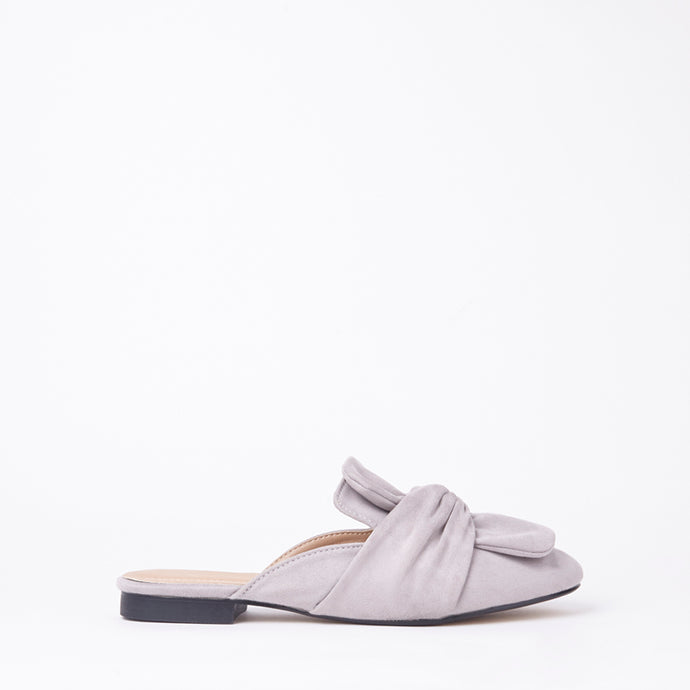 Lera Grey Faux Suede Slipper Bow Mules