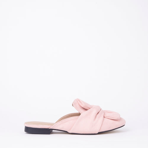Lera Pink Faux Suede Slipper Bow Mules
