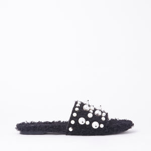 Lidia Black Pearl Slider In Black Faux Shearling