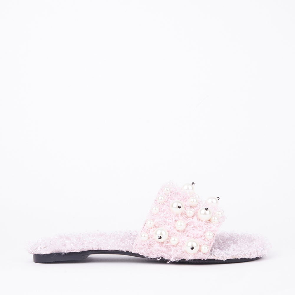 Lidia Pink Pearl Slider In Black Faux Shearling