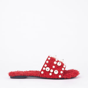 Lidia Red Pearl Slider In Black Faux Shearling