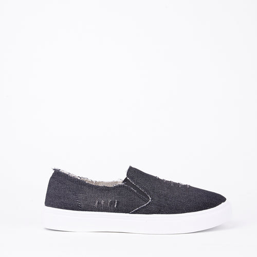 Lilah Dark Distressed Denim Slip On Pumps