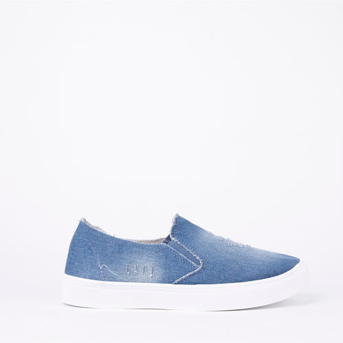 Lilah Mid Distressed Denim Slip On Pumps