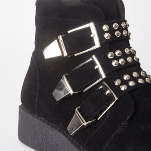 Lily Black Creeper Stud Boots With Buckles