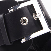Load image into Gallery viewer, Lizzie Black Faux Leather Buckle Block Heels