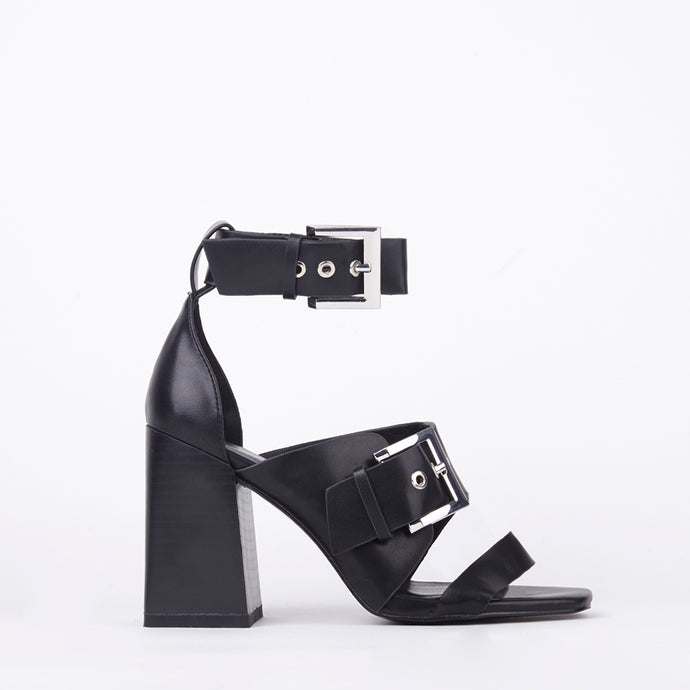 Lizzie Black Faux Leather Buckle Block Heels