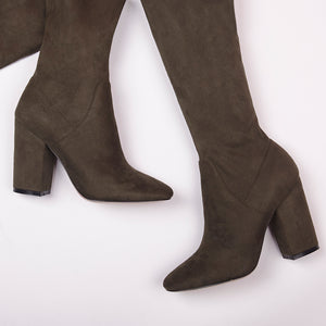 Lola Knee High Khaki Boots