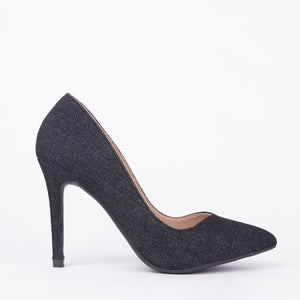 Lottie Pointed Denim Court Heels