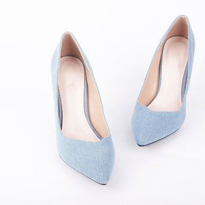 Lottie Pointed Light Denim Court Heels