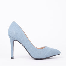 Load image into Gallery viewer, Lottie Pointed Light Denim Court Heels