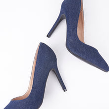Load image into Gallery viewer, Lottie Pointed Mid Denim Court Heels