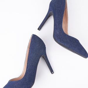 Lottie Pointed Mid Denim Court Heels