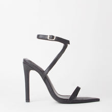 Load image into Gallery viewer, Lucy Black Pointed Snake Print Heels