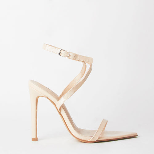 Lucy Nude Pointed Print Heels